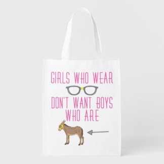 Lustiger Mädchen-Glas-Nerd-Spaß Wiederverwendbare Einkaufstasche