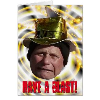 Lustiger Mann mit Party-Hut-neuem Jahr Karte