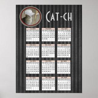 Lustiger modischer Baseballkatzen-Kalender 2018 Poster