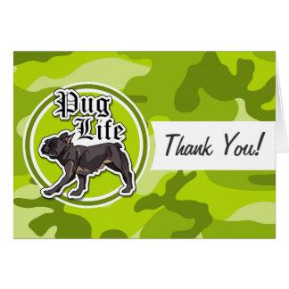 Lustiger Mops; hellgrüne Camouflage, Tarnung Grußkarten