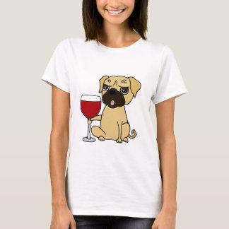 Lustiger Mops-Hund, der Rotwein trinkt T-Shirt