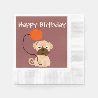 Lustiger Mops-Hund mit Ballon Serviette