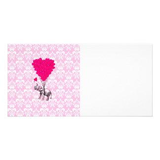 Lustiger niedlicher Elefant u. rosa Damast Photokartenvorlagen