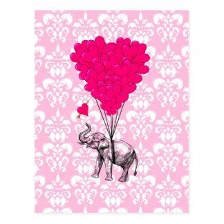 Lustiger niedlicher Elefant u. rosa Damast Postkarten