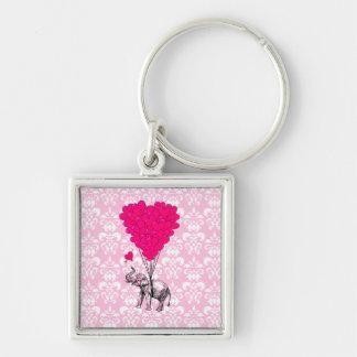 Lustiger niedlicher Elefant u. rosa Damast Silberfarbener Quadratischer Schlüsselanhänger