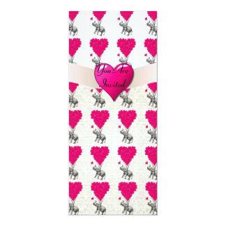 Lustiger niedlicher Elefant u. rosa Herzballone 10,2 X 23,5 Cm Einladungskarte