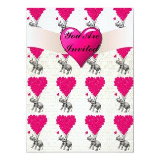 Lustiger niedlicher Elefant u. rosa Herzballone 16,5 X 22,2 Cm Einladungskarte