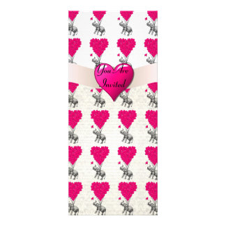 Lustiger niedlicher Elefant u. rosa Herzballone Einladung