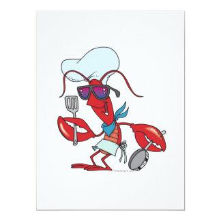 lustiger niedlicher Hummerkoch-Koch 16,5 X 22,2 Cm Einladungskarte