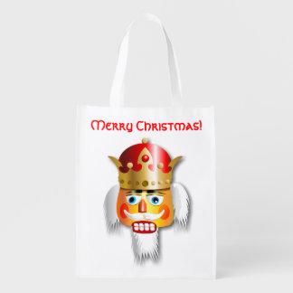Lustiger Nussknacker-König Cartoon Wiederverwendbare Einkaufstasche
