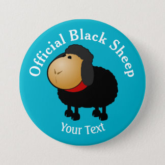 Lustiger offizieller schwarze Schaf-Knopf Runder Button 7,6 Cm