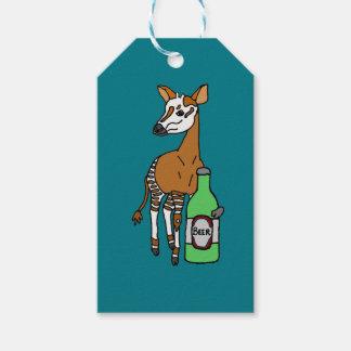 Lustiger Okapi-trinkende Bier-Kunst Geschenkanhänger