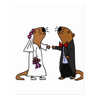 Lustiger Otter-Hochzeits-Cartoon Postkarten