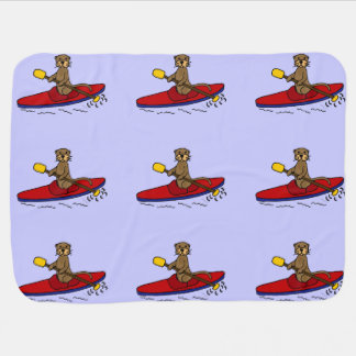 Lustiger Otter-Kayaking Cartoon Kinderwagendecke