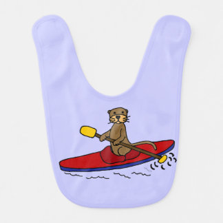 Lustiger Otter-Kayaking Cartoon Lätzchen