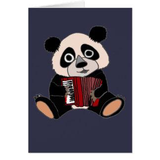 Lustiger Panda-Bär, der Akkordeon spielt Karte