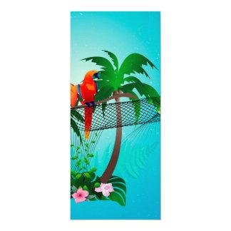 Lustiger Papagei mit Blumen 10,2 X 23,5 Cm Einladungskarte