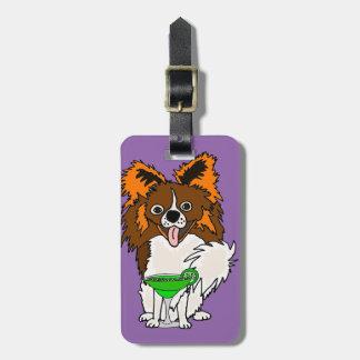 Lustiger Papillon Hund, der Margarita-Cartoon Gepäckanhänger