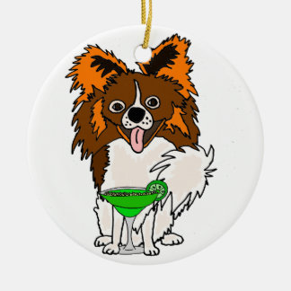 Lustiger Papillon Hund, der Margarita-Cartoon Keramik Ornament
