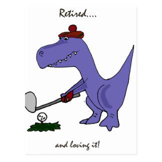 Lustiger pensionierter T-Rex Dinosaurier Gofing Postkarte