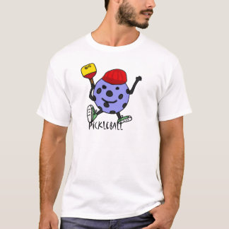 Lustiger Pickleball Ball-Charakter-Cartoon T-Shirt