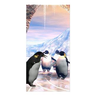 Lustiger Pinguin gehen auf ein Meer mit Eis Personalisierte Foto Karte