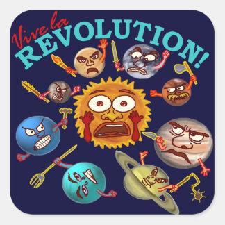 Lustiger Planeten-Revolutions-Solarsystems-Cartoon Quadratischer Aufkleber