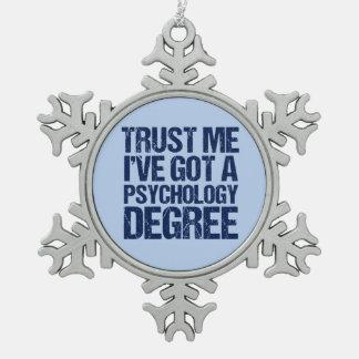 Lustiger Psychologie-Abschluss Schneeflocken Zinn-Ornament