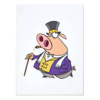 lustiger reicher nobler Schweinschwein-Cartoon Individuelle Einladungskarten