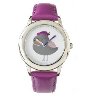 Lustiger Retro Mode-Vogel-schicke Dame mit Gläsern Armbanduhr