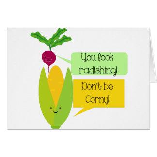 Lustiger Rettich-und Mais-Gemüse-Spaß Karte