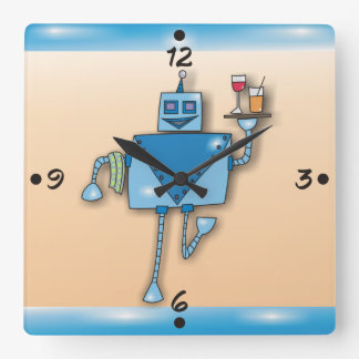 Lustiger Roboter-Kellner mit Behälter-und Quadratische Wanduhr