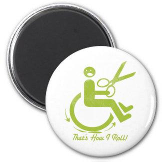 Lustiger Rollstuhl und Scheren Runder Magnet 5,7 Cm