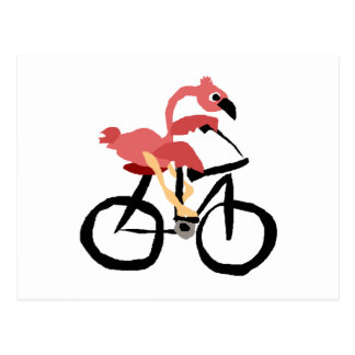 Lustiger rosa Flamingo-Vogel auf Fahrrad Postkarte