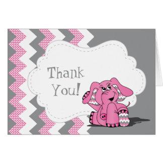 Lustiger rosa Zickzack alberner Elefant Karte
