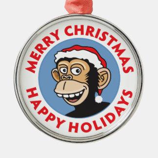 Lustiger Sankt-Affe Rundes Silberfarbenes Ornament