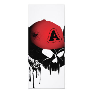 Lustiger Schädel mit rotem Hut 10,2 X 23,5 Cm Einladungskarte