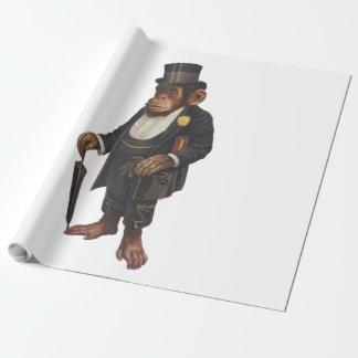 Lustiger Schimpanse - Retro Affe - monkey Geschenkpapier