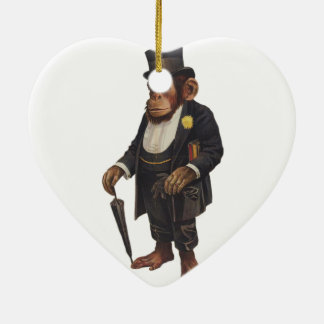 Lustiger Schimpanse - Retro Affe - monkey Keramik Ornament