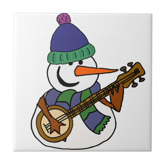 Lustiger Schneemann, der Banjo-Grafik spielt Keramikfliese