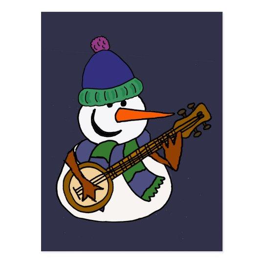 Lustiger Schneemann, der Banjo-Grafik spielt Postkarte