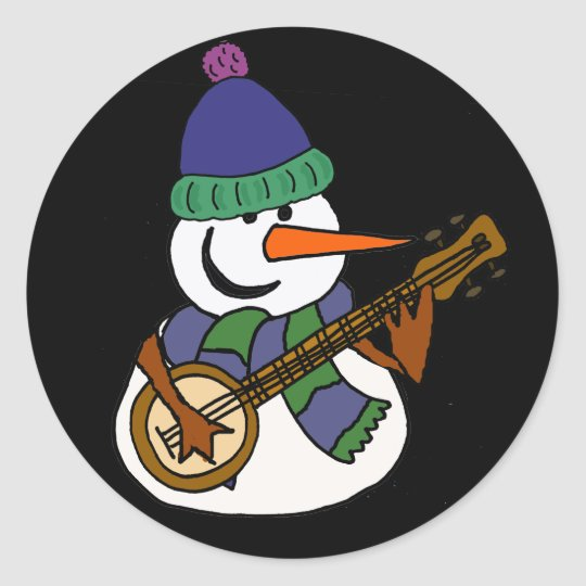 Lustiger Schneemann, der Banjo-Grafik spielt Runder Aufkleber