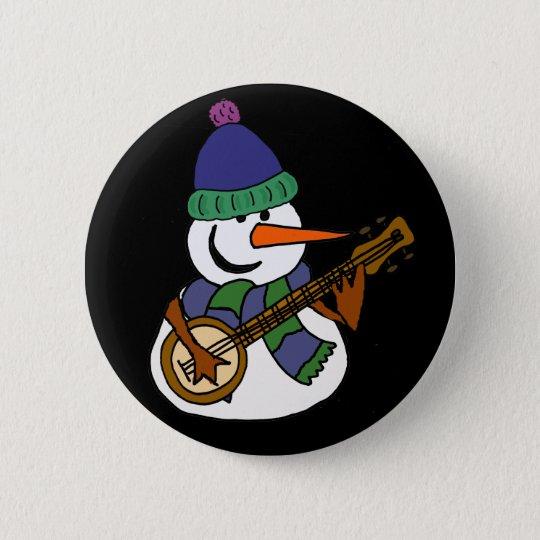 Lustiger Schneemann, der Banjo-Grafik spielt Runder Button 5,7 Cm