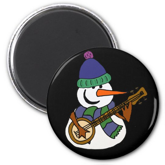 Lustiger Schneemann, der Banjo-Grafik spielt Runder Magnet 5,7 Cm
