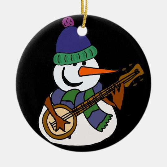 Lustiger Schneemann, der Banjo-Grafik spielt Rundes Keramik Ornament