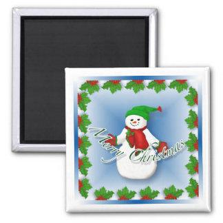 Lustiger Schneemann-Weihnachtsmagnet Quadratischer Magnet