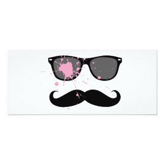 Lustiger Schnurrbart und Sonnenbrille 10,2 X 23,5 Cm Einladungskarte