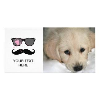Lustiger Schnurrbart und Sonnenbrille Photo Karten