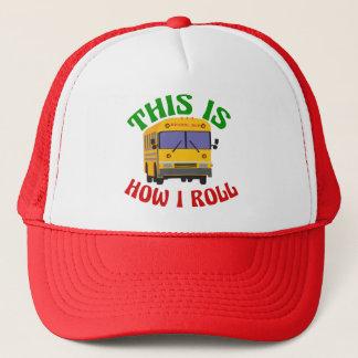 Lustiger Schulbus-Fahrer dieses ist, wie ich rolle Truckerkappe