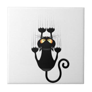 Lustiger schwarze Katzen-Cartoon, der Wand verkrat Keramikfliese